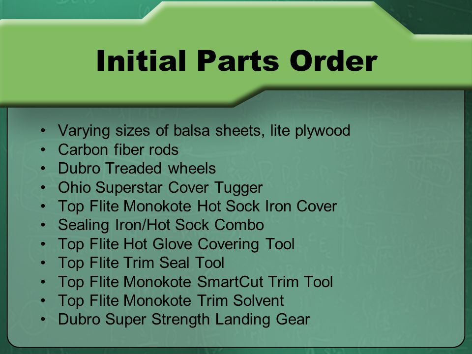 Initial Parts Order Varying sizes of balsa sheets, lite plywood Carbon fiber rods Dubro Treaded wheels Ohio Superstar Cover Tugger Top Flite Monokote Hot Sock Iron Cover Sealing Iron/Hot Sock Combo Top Flite Hot Glove Covering Tool Top Flite Trim Seal Tool Top Flite Monokote SmartCut Trim Tool Top Flite Monokote Trim Solvent Dubro Super Strength Landing Gear