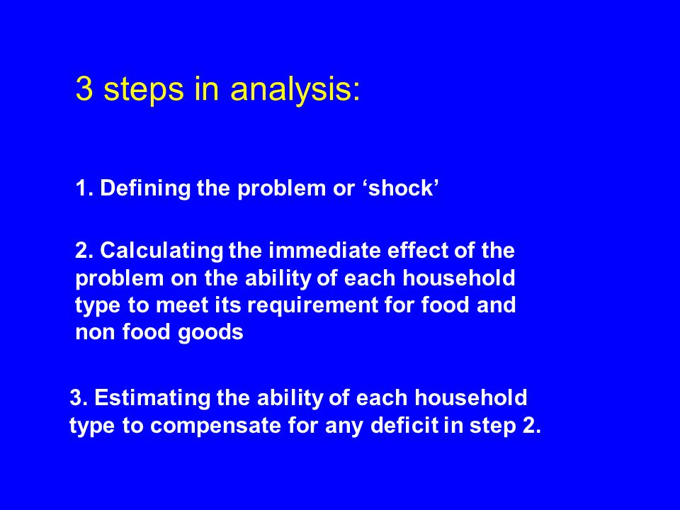 3 steps in analysis: 1. Defining the problem or 'shock' 3.