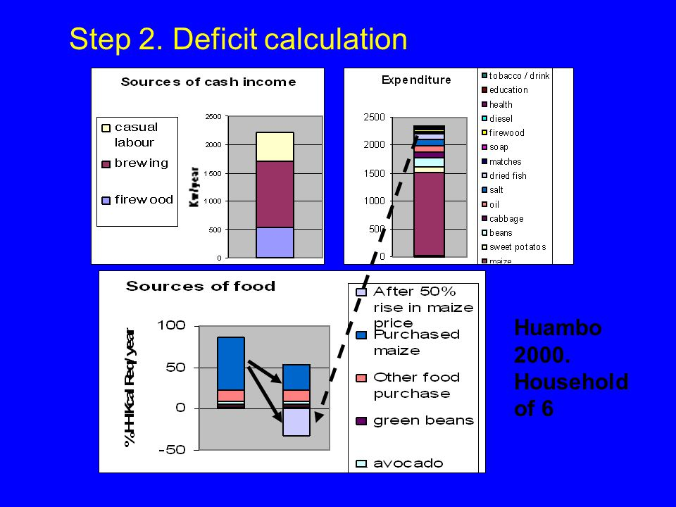 Step 2. Deficit calculation Huambo 2000. Household of 6