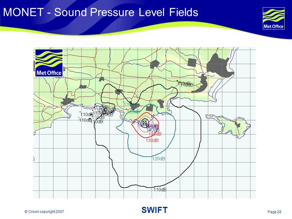 Page 28 © Crown copyright 2007 SWIFT MONET - Sound Pressure Level Fields