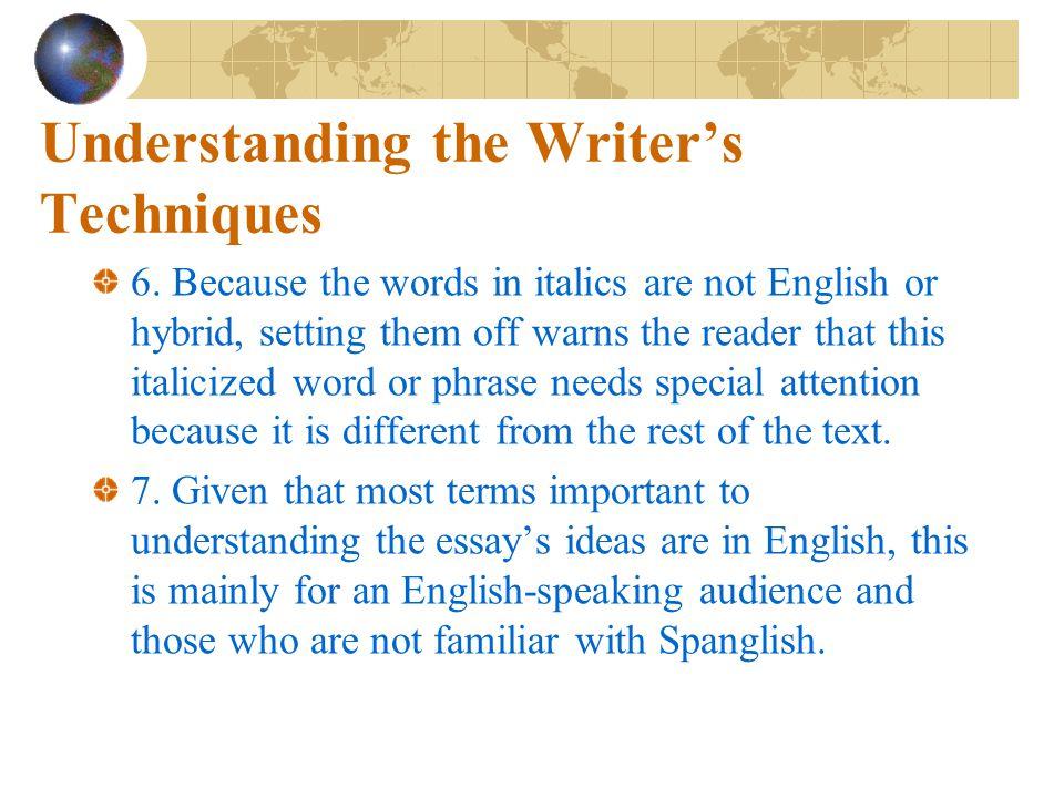 Understanding the Writer's Techniques 5. Par.