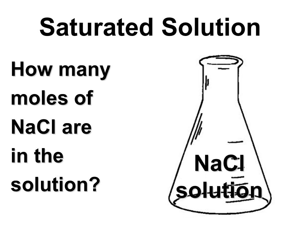 How many moles of NaCl are in the solution? Saturated Solution NaClsolution