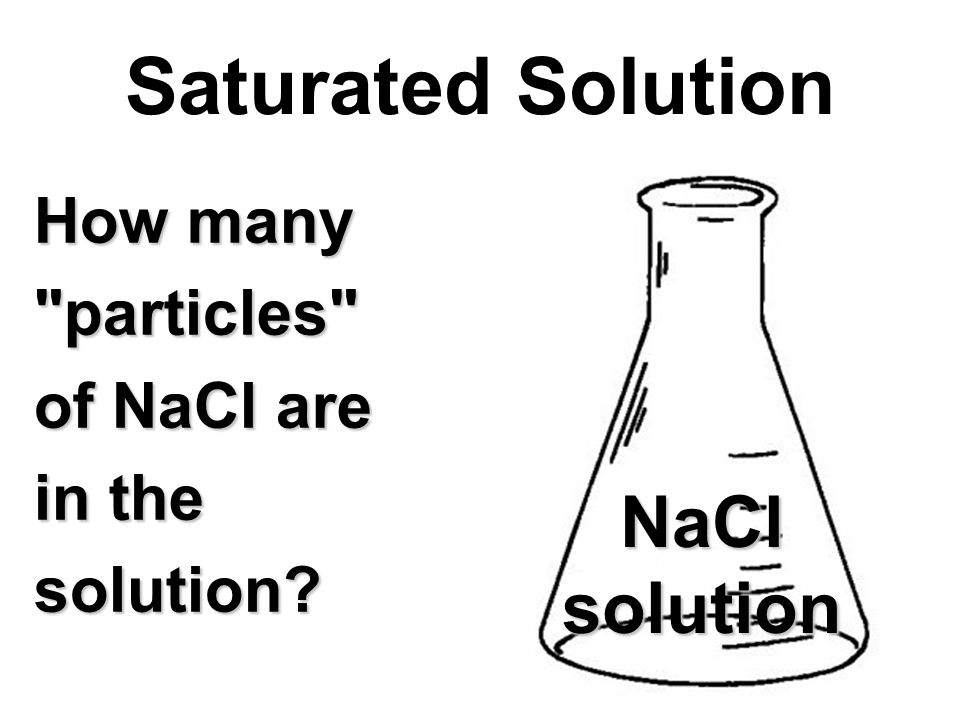 How many particles of NaCl are in the solution Saturated Solution NaClsolution