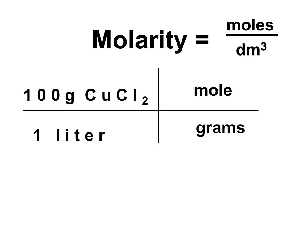 1 0 0 g C u C l 2 1 l i t e r Molarity = grams mole moles dm 3
