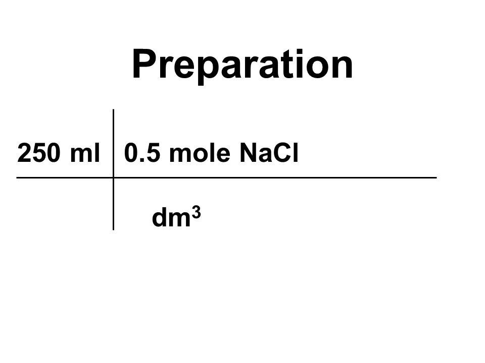 250 ml 0.5 mole NaCl dm 3 Preparation