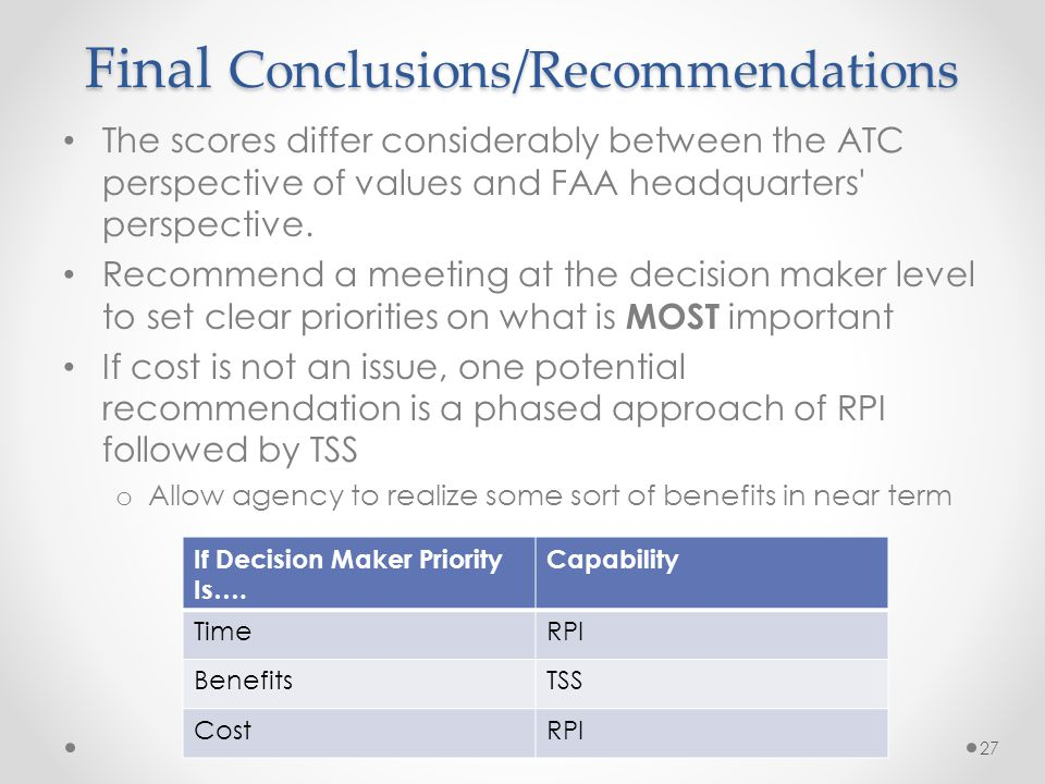 Final Conclusions/Recommendations The scores differ considerably between the ATC perspective of values and FAA headquarters perspective.