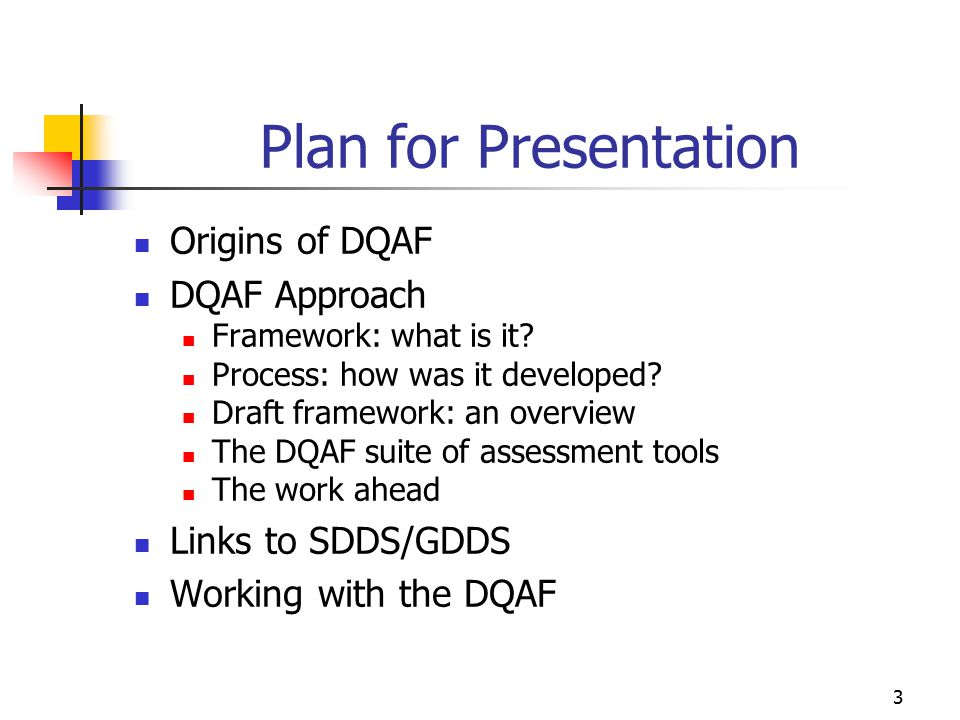 14 DQAF: an Overview Uses a cascading structure Five dimensions of quality - and for each dimension, Elements that can be used in assessing quality - and for each element, Indicators that are more concrete and detailed - and for each indicator, Focal issues that are tailored to the dataset - and for each focal issue Key points