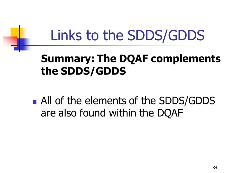 34 Links to the SDDS/GDDS Summary: The DQAF complements the SDDS/GDDS All of the elements of the SDDS/GDDS are also found within the DQAF