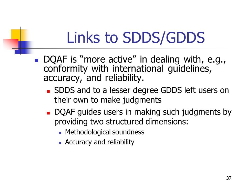 "37 Links to SDDS/GDDS DQAF is ""more active"" in dealing with, e.g., conformity with international guidelines, accuracy, and reliability. SDDS and to a"