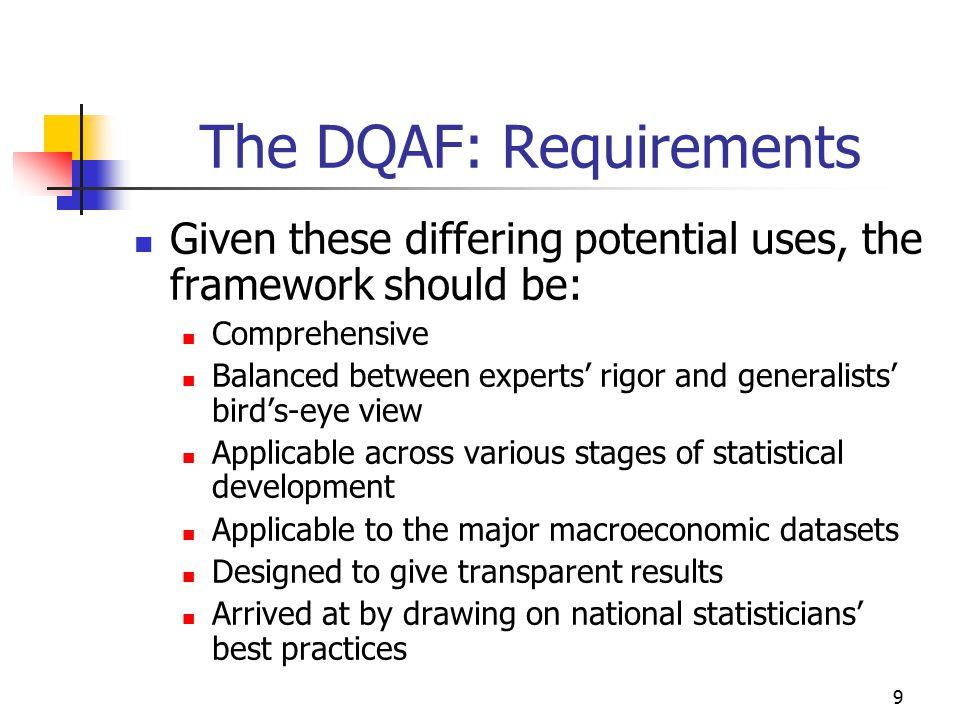 30 Summary presentation of results Background: Interest in a presentation of results for, e.g., policy advisors IMF is testing a summary presentation For each dataset, a one-page table At the two-digit level (21 elements) On a 4-point scale, from practice observed to practice not observed With an n.a. column With a comments column The DQAF Suite of Tools