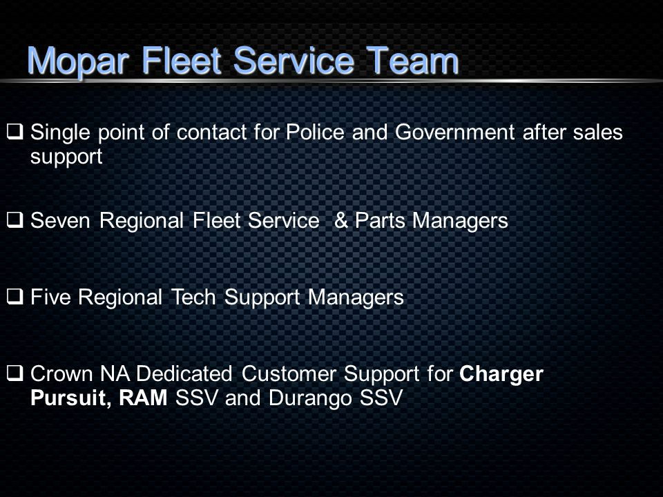 Regional Service and Parts Managers