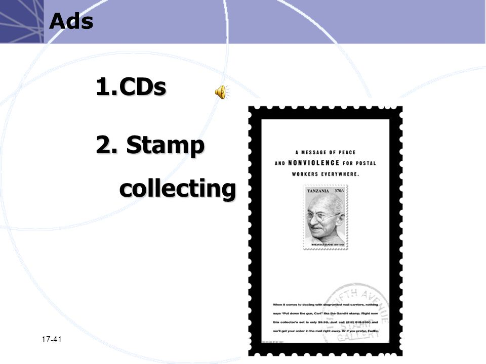 17-41 1.CDs 2. Stamp collecting Ads
