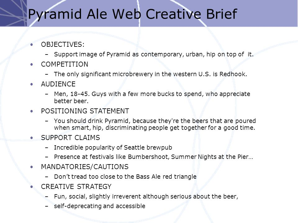 Pyramid Ale Web Creative Brief OBJECTIVES: –Support image of Pyramid as contemporary, urban, hip on top of it.