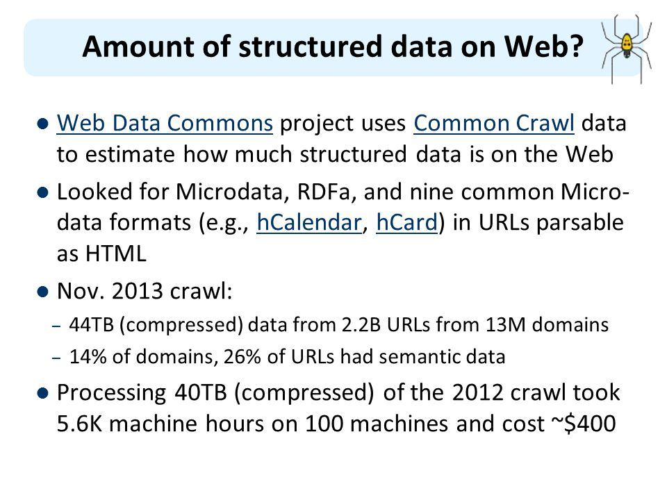 Amount of structured data on Web.
