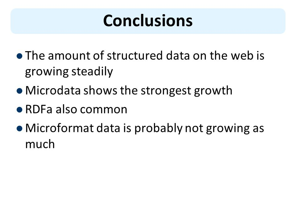 Conclusions The amount of structured data on the web is growing steadily Microdata shows the strongest growth RDFa also common Microformat data is probably not growing as much