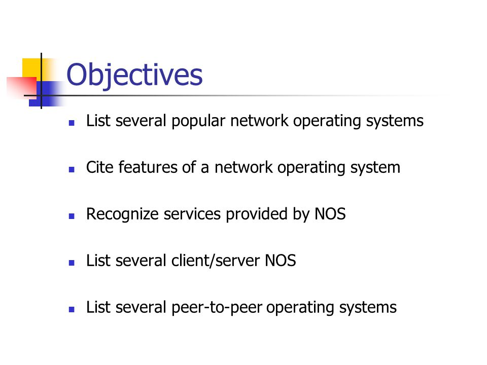 Summary NOS provide logical communication support for LANs Provide application interface between user and network protocols, hardware and media NOS available from variety of vendors Client/server from Novell Netware Peer-to-peer as in TCP/IP