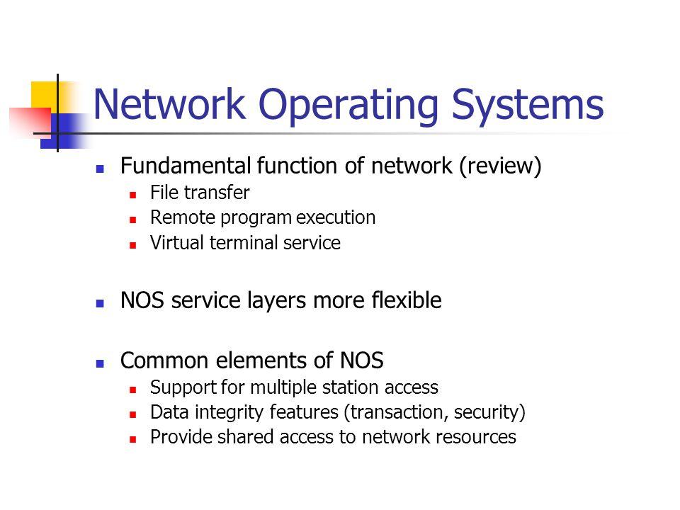 Network Operating Systems Client/Server Novell Netware Microsoft LanManager Microsoft WindowsNT Banyan Vines Peer-to-peer Novel Netware Light Artisoft Lantastic Appletalk Windows for Workgroups