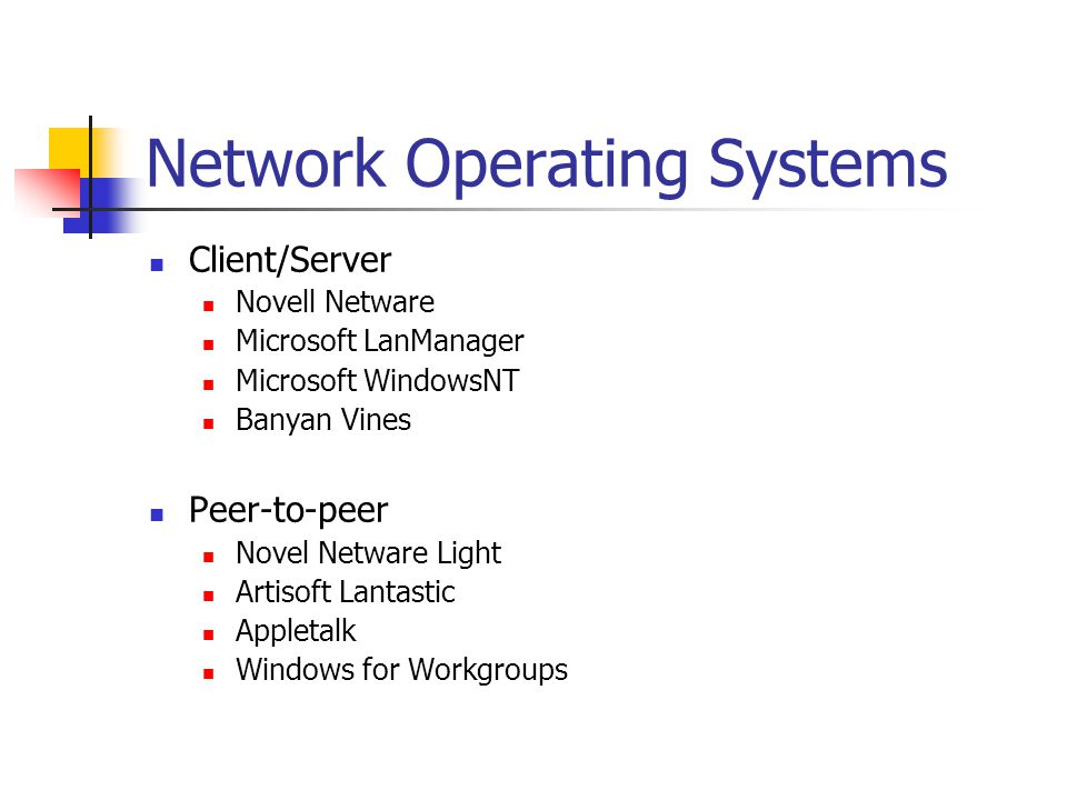 Comparison of OSI and LAN Manager OSILAN Manager Application Presentation Session Transport Network DataLink Physical RedirectorNamed Pipes Server Message Block (SMB) NetBios 802.x Specifications Network Driver Interface Specification (NDIS) Network Drivers, 802.x Specifications NetBios Extended User Interface (NetBEUI) Transmission Control Protocol / Internet Protocol (TCP/IP)