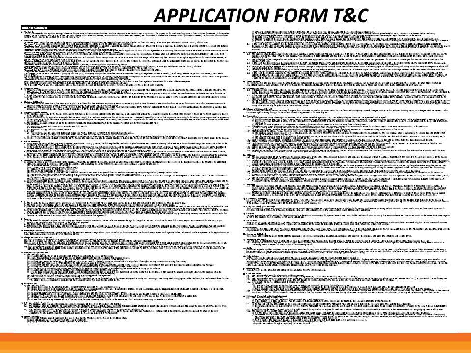 APPLICATION FORM T&C