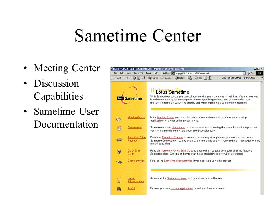 Sametime Center Meeting Center Discussion Capabilities Sametime User Documentation