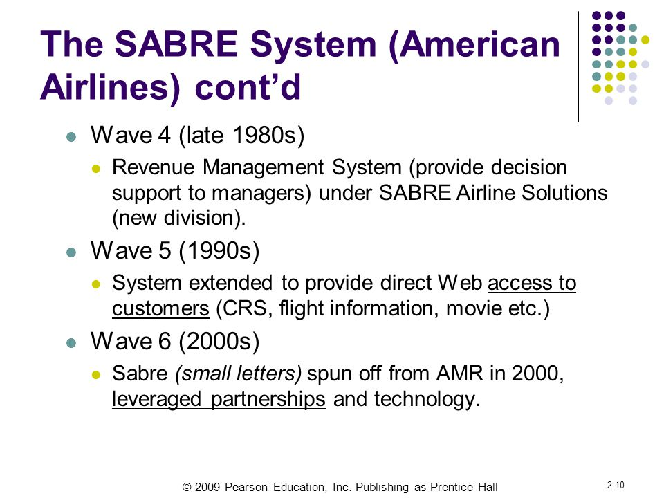 © 2009 Pearson Education, Inc. Publishing as Prentice Hall 2-10 The SABRE System (American Airlines) cont'd Wave 4 (late 1980s) Revenue Management Sys