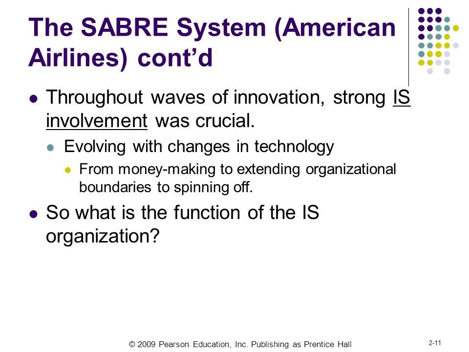 © 2009 Pearson Education, Inc. Publishing as Prentice Hall 2-11 The SABRE System (American Airlines) cont'd Throughout waves of innovation, strong IS