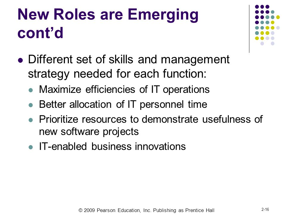 © 2009 Pearson Education, Inc. Publishing as Prentice Hall 2-16 New Roles are Emerging cont'd Different set of skills and management strategy needed f