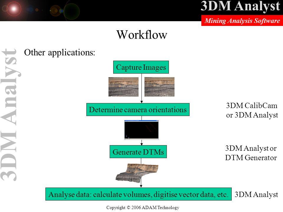 3DM Analyst Copyright © 2006 ADAM Technology Mining Analysis Software 3DM Analyst Workflow Other applications: Capture Images Determine camera orientations Generate DTMs 3DM CalibCam or 3DM Analyst 3DM Analyst or DTM Generator Analyse data: calculate volumes, digitise vector data, etc.