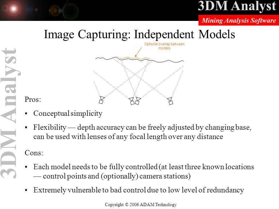 3DM Analyst Copyright © 2006 ADAM Technology Mining Analysis Software 3DM Analyst Image Capturing: Independent Models Pros: Conceptual simplicity Flexibility — depth accuracy can be freely adjusted by changing base, can be used with lenses of any focal length over any distance Cons: Each model needs to be fully controlled (at least three known locations — control points and (optionally) camera stations) Extremely vulnerable to bad control due to low level of redundancy Optional overlap between models