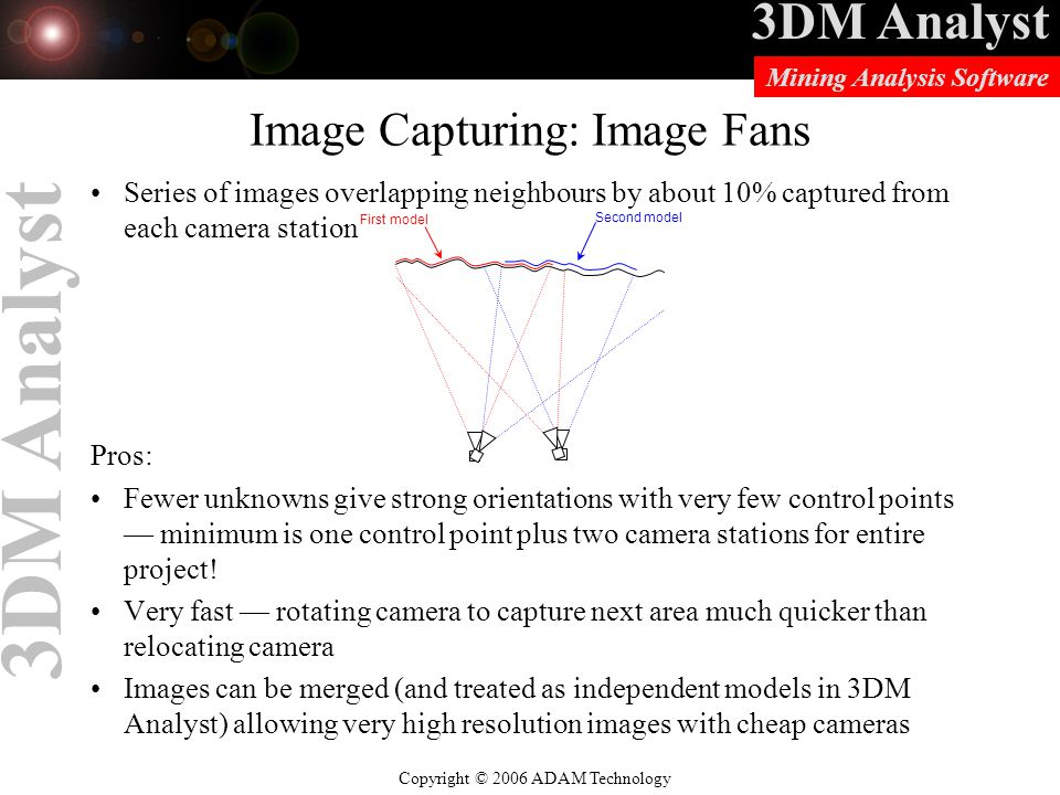 3DM Analyst Copyright © 2006 ADAM Technology Mining Analysis Software 3DM Analyst Image Capturing: Image Fans Series of images overlapping neighbours by about 10% captured from each camera station Pros: Fewer unknowns give strong orientations with very few control points — minimum is one control point plus two camera stations for entire project.