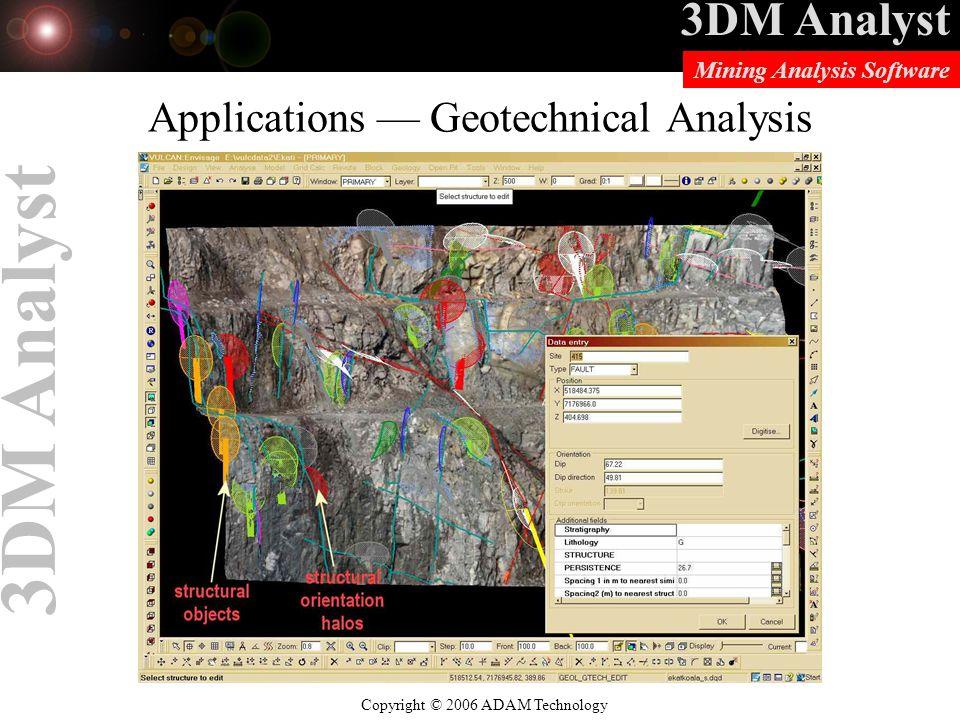 3DM Analyst Copyright © 2006 ADAM Technology Mining Analysis Software 3DM Analyst Applications — Geotechnical Analysis