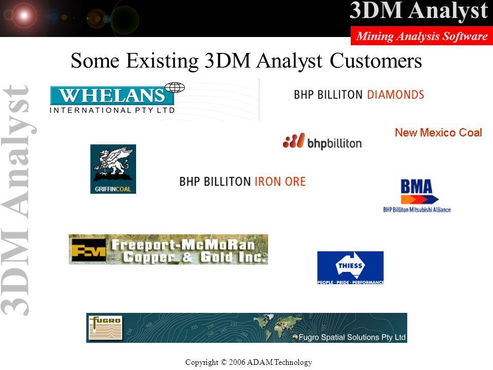 3DM Analyst Copyright © 2006 ADAM Technology Mining Analysis Software 3DM Analyst Some Existing 3DM Analyst Customers
