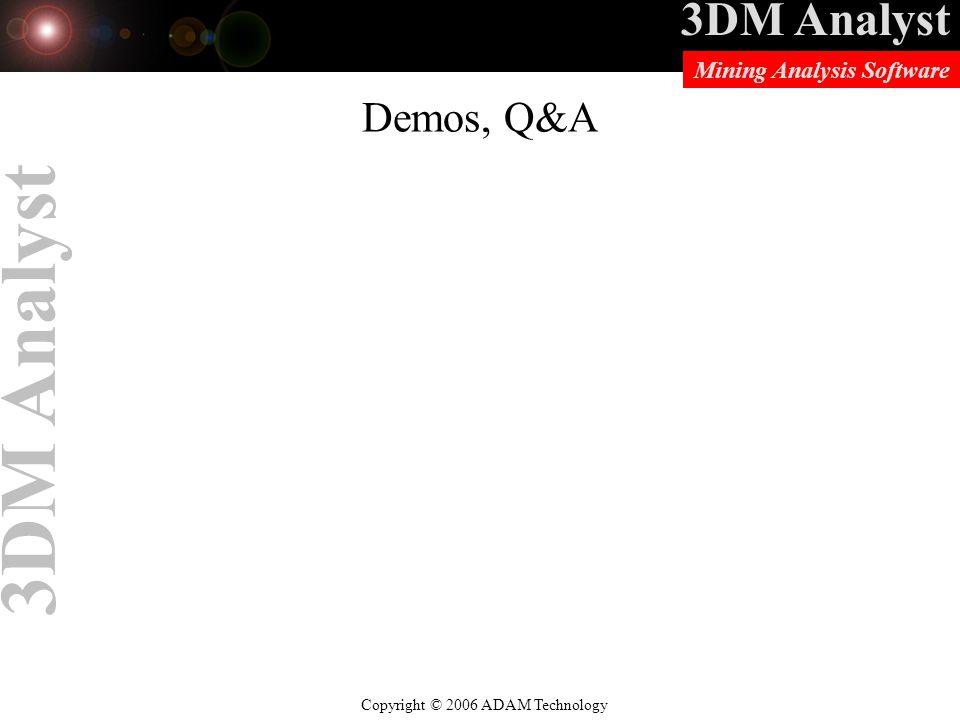 3DM Analyst Copyright © 2006 ADAM Technology Mining Analysis Software 3DM Analyst Demos, Q&A