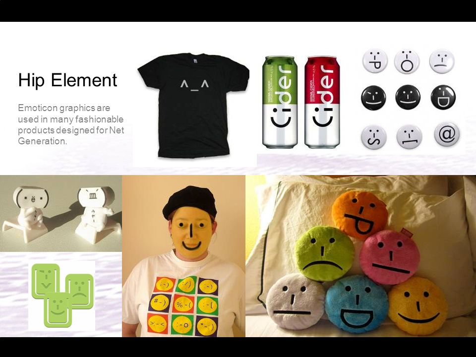 Hip Element Emoticon graphics are used in many fashionable products designed for Net Generation.