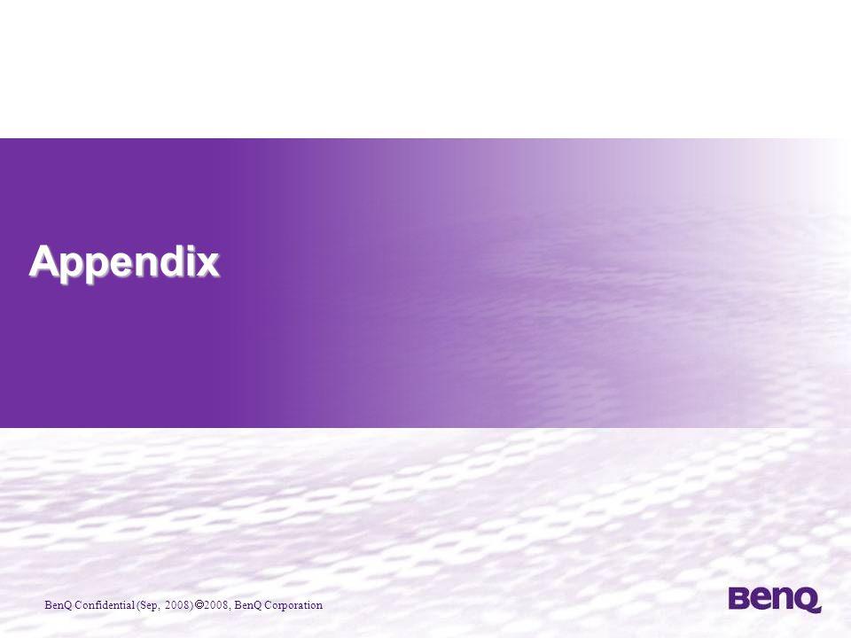 BenQ Confidential (Sep, 2008)  2008, BenQ Corporation Appendix