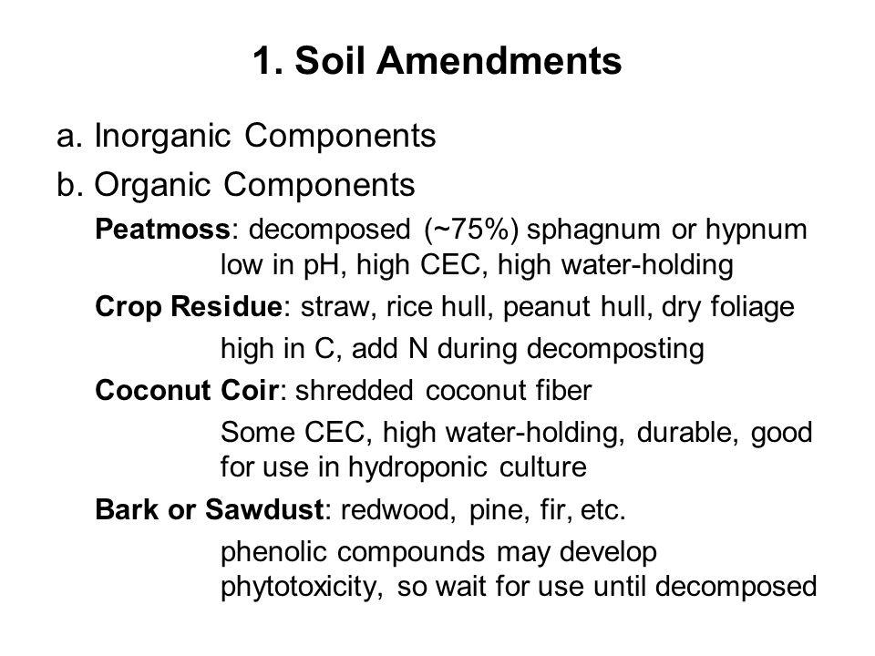 1. Soil Amendments a. Inorganic Components b.