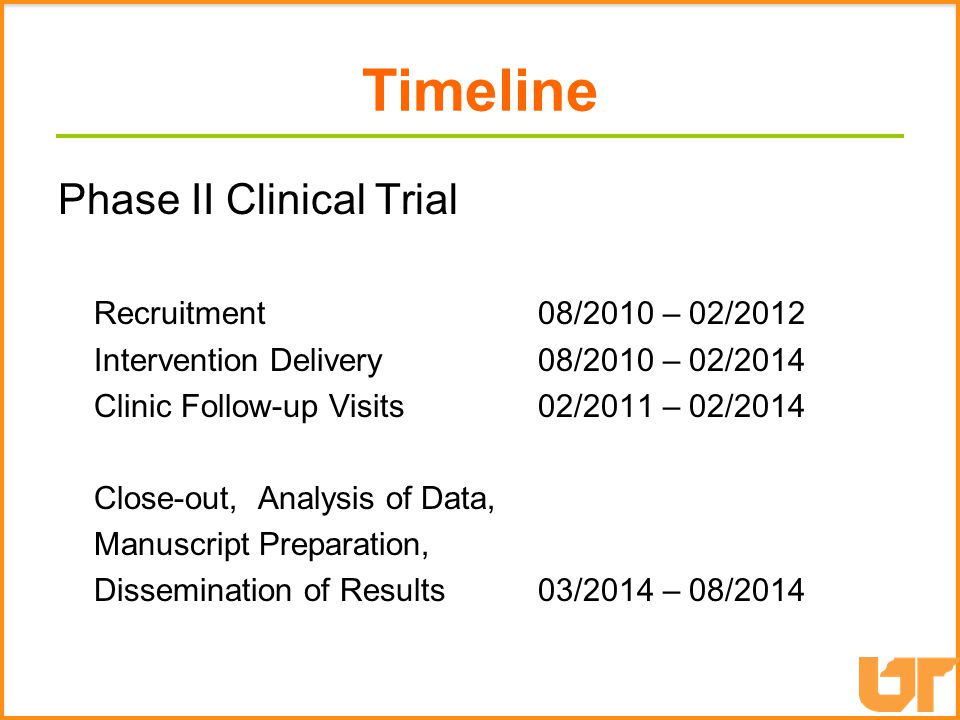 Timeline Phase II Clinical Trial Recruitment 08/2010 – 02/2012 Intervention Delivery 08/2010 – 02/2014 Clinic Follow-up Visits02/2011 – 02/2014 Close-out, Analysis of Data, Manuscript Preparation, Dissemination of Results03/2014 – 08/2014