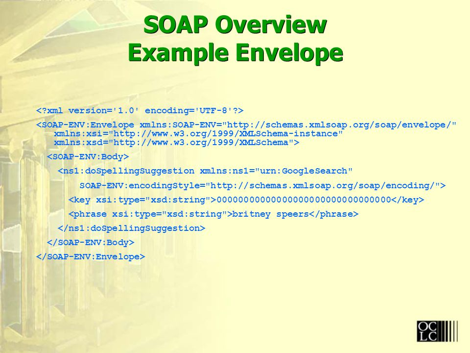 SOAP Overview Example Envelope <ns1:doSpellingSuggestion xmlns:ns1= urn:GoogleSearch SOAP-ENV:encodingStyle= http://schemas.xmlsoap.org/soap/encoding/ > 00000000000000000000000000000000 britney speers