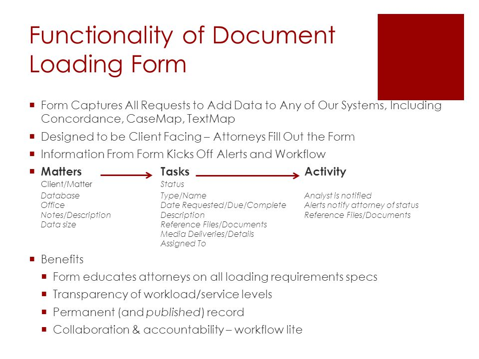 Functionality of Document Loading Form  Form Captures All Requests to Add Data to Any of Our Systems, Including Concordance, CaseMap, TextMap  Designed to be Client Facing – Attorneys Fill Out the Form  Information From Form Kicks Off Alerts and Workflow  MattersTasksActivity Client/Matter Status DatabaseType/NameAnalyst is notified Office Date Requested/Due/CompleteAlerts notify attorney of status Notes/Description DescriptionReference Files/Documents Data size Reference Files/Documents Media Deliveries/Details Assigned To  Benefits  Form educates attorneys on all loading requirements specs  Transparency of workload/service levels  Permanent (and published) record  Collaboration & accountability – workflow lite