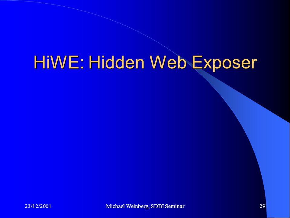 23/12/2001Michael Weinberg, SDBI Seminar29 HiWE: Hidden Web Exposer