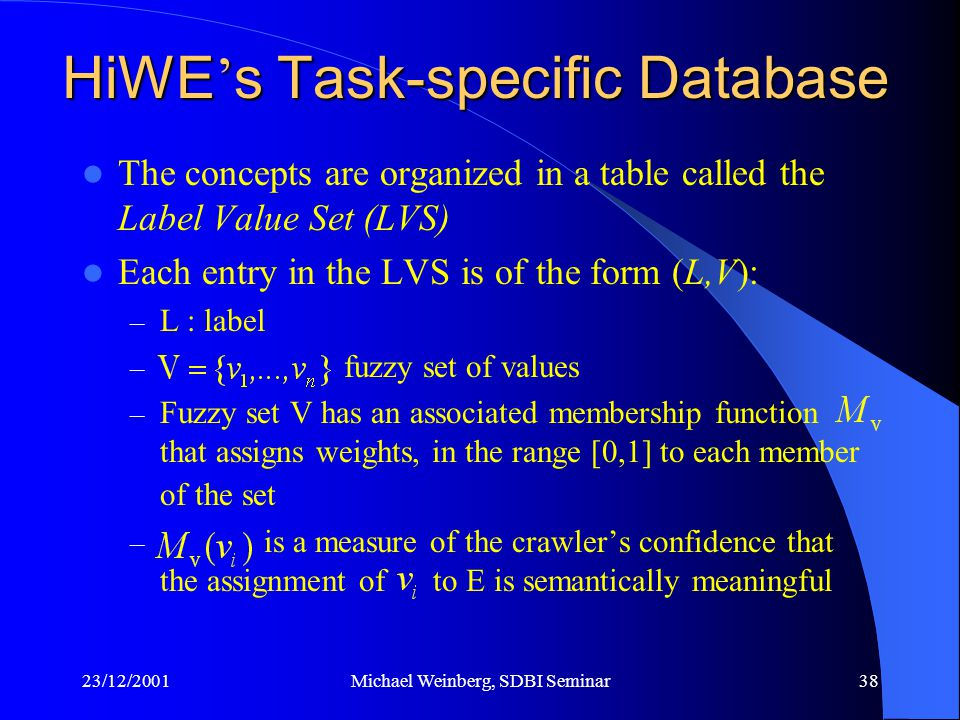 23/12/2001Michael Weinberg, SDBI Seminar38 The concepts are organized in a table called the Label Value Set (LVS) Each entry in the LVS is of the form (L,V): – L : label – fuzzy set of values – Fuzzy set V has an associated membership function that assigns weights, in the range [0,1] to each member of the set – is a measure of the crawler's confidence that the assignment of to E is semantically meaningful HiWE ' s Task-specific Database