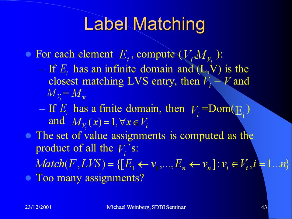 23/12/2001Michael Weinberg, SDBI Seminar43 For each element, compute (, ): – If has an infinite domain and (L,V) is the closest matching LVS entry, then = V and = – If has a finite domain, then =Dom( ) and The set of value assignments is computed as the product of all the `s: Too many assignments.