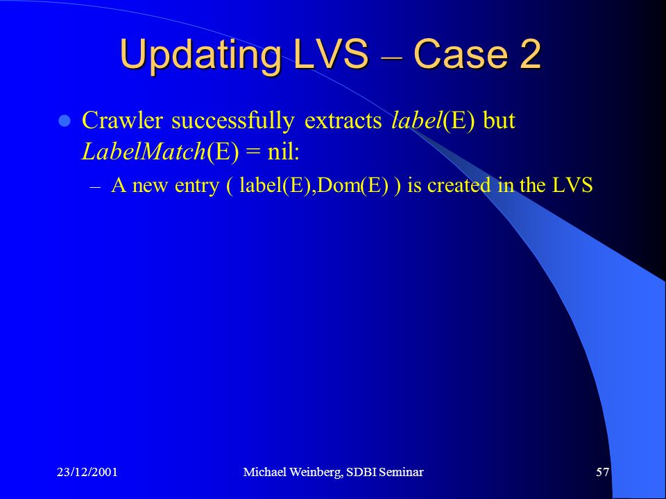 23/12/2001Michael Weinberg, SDBI Seminar57 Crawler successfully extracts label(E) but LabelMatch(E) = nil: – A new entry ( label(E),Dom(E) ) is created in the LVS Updating LVS – Case 2