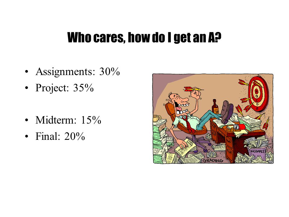 Who cares, how do I get an A Assignments: 30% Project: 35% Midterm: 15% Final: 20%