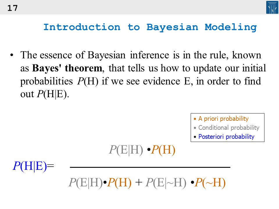 17 Introduction to Bayesian Modeling The essence of Bayesian inference is in the rule, known as Bayes' theorem, that tells us how to update our initia