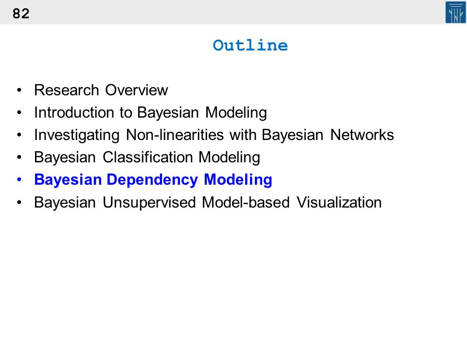 82 Outline Research Overview Introduction to Bayesian Modeling Investigating Non-linearities with Bayesian Networks Bayesian Classification Modeling B