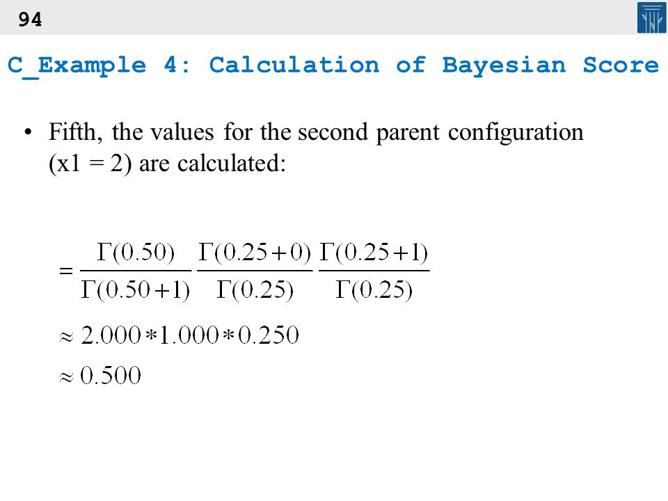 94 Fifth, the values for the second parent configuration (x1 = 2) are calculated: C_Example 4: Calculation of Bayesian Score