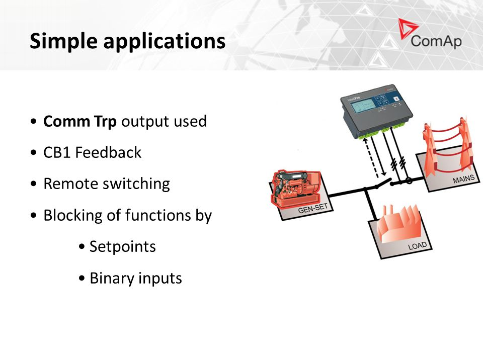 Simple applications Comm Trp output used CB1 Feedback Remote switching Blocking of functions by Setpoints Binary inputs