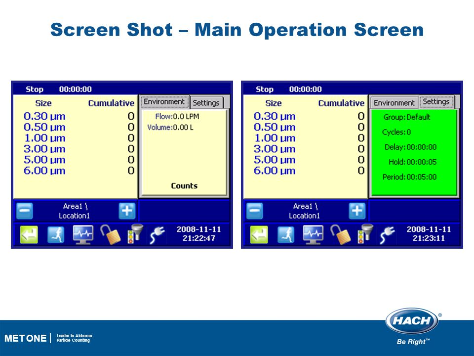 26 MET ONE Leader in Airborne Particle Counting Screen Shot – Main Operation Screen