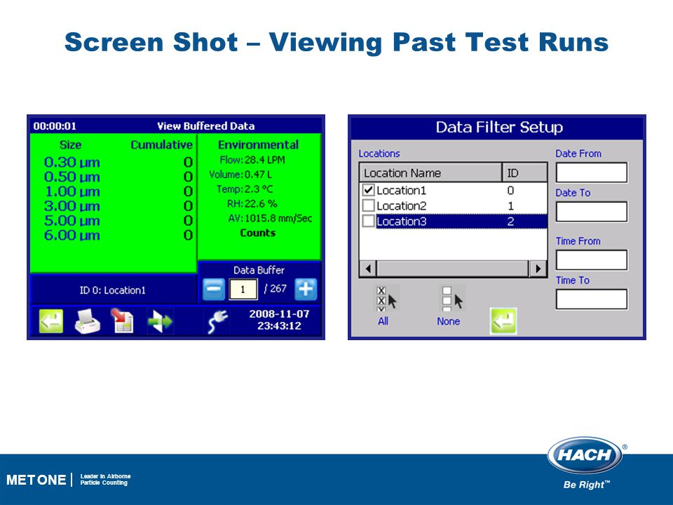 27 MET ONE Leader in Airborne Particle Counting Screen Shot – Viewing Past Test Runs